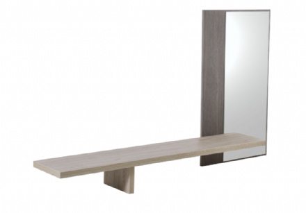 Grey Oak or White Ash  Mirror with Shelf